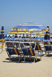 Cervia. (Ra),Italy,  the beach with the umbrellas Stock Image