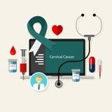 Cervical cancer cervic medical teal white ribbon treatment health disease Stock Images