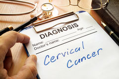 Cervical cancer. A diagnostic form with words Cervical cancer stock images