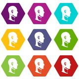 Cervical collar icon set color hexahedron. Cervical collar icon set many color hexahedron isolated on white vector illustration Stock Photography