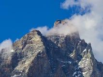 Cervinia地区-马塔角高峰山,意大利 免版税库存照片