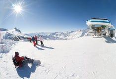 cervinia意大利手段滑雪 免版税库存照片