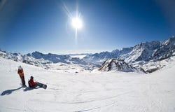 cervinia意大利手段滑雪 免版税库存图片