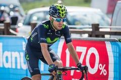 Cervinia, Italia 29 de mayo de 2015; El ciclista profesional aborda la subida pasada antes de llegada Foto de archivo