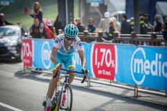 Cervinia, Italia 29 2015 Maj; Fabio Aru brać się do ostatnią wspinaczkę przedtem przed wygrywać Fotografia Stock