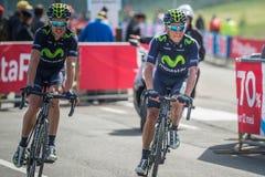 Cervinia, Italia 29 2015 Maj; Grupa Fachowi cykliści brać się do ostatnią wspinaczkę Obraz Stock