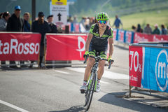 Cervinia, Italia 29 May  2015; Davide Formolo tackles the last climb before arrival. Of  a stage of the Tour of Italy 2015. Hard stage mountain from Gravellona Stock Image