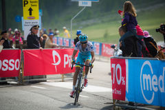 Cervinia, Italia 29 May  2015; Fabio Aru  tackles the last climb before before winning. A stage of the Tour of Italy 2015. Hard stage mountain from Gravellona Royalty Free Stock Photos