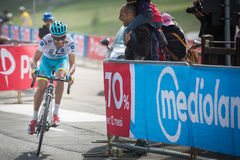 Cervinia, Italia 29 May  2015; Fabio Aru  tackles the last climb before before winning. A stage of the Tour of Italy 2015. Hard stage mountain from Gravellona Stock Images