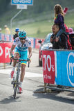 Cervinia, Italia 29 May  2015; Fabio Aru  tackles the last climb before before winning. A stage of the Tour of Italy 2015. Hard stage mountain from Gravellona Stock Photo