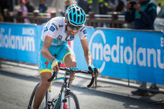 Cervinia, Italia 29 May  2015; Fabio Aru  tackles the last climb before before winning. A stage of the Tour of Italy 2015. Hard stage mountain from Gravellona Stock Photography