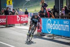 Cervinia, Italia 29 May  2015; Rigoberto Uran tackles the last climb before before arrival Royalty Free Stock Photo