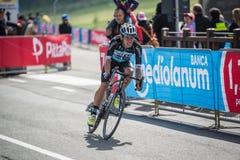 Cervinia, Italia 29 May  2015; Rigoberto Uran tackles the last climb before before arrival Royalty Free Stock Photos