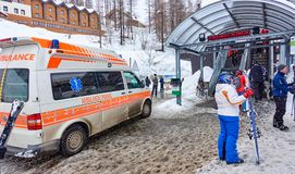 CERVINIA, ITALY - MARCH 5, 2018: Ambulance near the ski lift in royalty free stock image