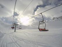 Cervinia, Italy. Panoramic view of the slopes. Italian Alps in the winter at Breuil Cervinia ski resort stock image