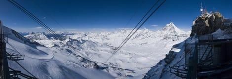 Cervinia Ski Day. Sunny ski day on cervinia-zermatt's slopes Stock Photos