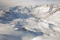 Cervinia-Skiaufzug Lizenzfreie Stockbilder