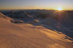 Cervinia-Sonnenuntergang Stockfoto