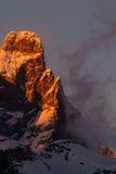 马塔角在日落的cervino山顶 库存照片