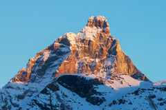 Cervino matterhorn mountain in a winter sunrise Royalty Free Stock Photos