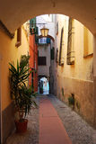 Cervo. An ancient alley in the medieval village of Cervo in Liguria, Italy Stock Photos