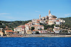 Cervo. View of Cervo, medieval village in Liguria, Italy from the sea Stock Photography