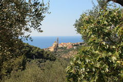 Cervo ligure. Panoramic view of the gulf of Cervo Ligure Royalty Free Stock Images