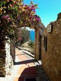 Cervo. Medioeval village overlooking the blue sea Stock Photo