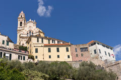Cervo - small, ancient town built on top of a hill along the Italian Riviera, Liguria, Italy. The baroque church of St. John the Baptist, overlooking the sea royalty free stock photography