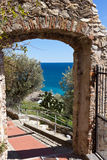 Cervo - view from a stone window, Imperia Province. Cervo is a small, ancient town built on top of a hill along the Italian Riviera, Liguria, Italy stock images