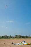 Cervo volante che sale sopra la spiaggia sundy Immagine Stock