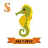 Cervo volante del mare Horse Lettera di S Alfabeto animale dei bambini svegli nel vettore Immagini Stock Libere da Diritti