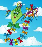 Cervo volante verde sul cielo Royalty Illustrazione gratis