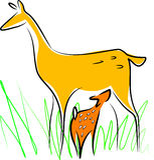 Cervos amamentando Ilustração Royalty Free