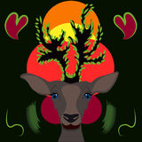 Cervos bonitos com folhas Imagens de Stock Royalty Free