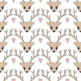 Cervos bonitos com fundo do coração por feriados de inverno Ilustração do Vetor