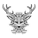 Cervos bonitos selvagens, retrato à moda tirado mão do boho com ornamento Linha trabalho da tatuagem ilustração royalty free