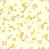 Cervos com flor do pêssego ilustração stock
