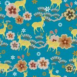 Cervos com flor do pêssego ilustração do vetor