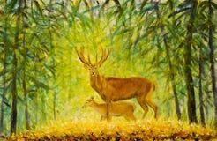 Cervos com um cervo pequeno na floresta do outono ilustração do vetor