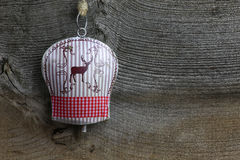 Cervos da decoração do Feliz Natal em Tin Bell Fotografia de Stock