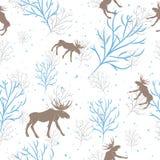 Cervos da floresta e teste padrão sem emenda do ramo de árvore Fundo do vetor Fotos de Stock