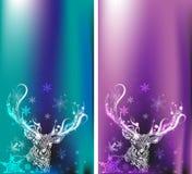 Cervos da garatuja Ilustração do vetor Feliz Natal Imagem de Stock Royalty Free