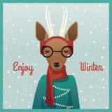 Cervos de ovas bonitos da menina com fundo do inverno ilustração royalty free