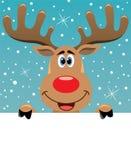 Cervos de Rudolph que prendem o papel em branco para seu texto Imagens de Stock Royalty Free