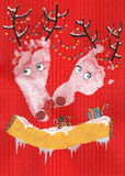 Cervos do ano novo feliz Imagens de Stock Royalty Free