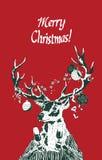 Cervos do feriado do Natal que guardam vidros do champanhe Foto de Stock Royalty Free