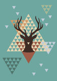 Cervos do Natal com teste padrão do triângulo, vetor Fotos de Stock