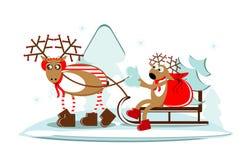 Cervos do Natal no trenó com árvore e presente Imagem de Stock Royalty Free