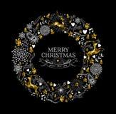 Cervos do ouro da grinalda da etiqueta do Feliz Natal baixo polis